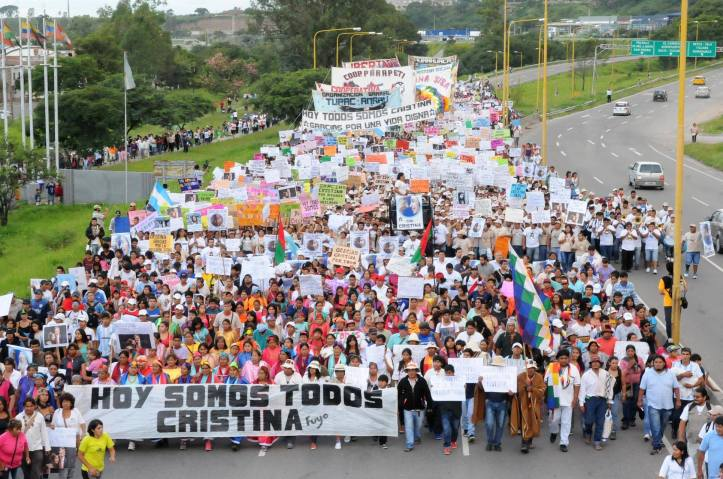 La Tupac, en una de sus marchas en Jujuy