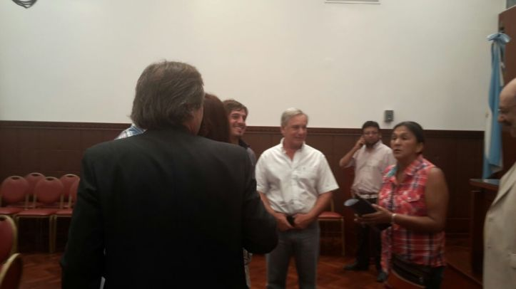 Fellner, Almirón y Milagro Sala reciben al ministro Matuk, en el Salón Marcos Paz.