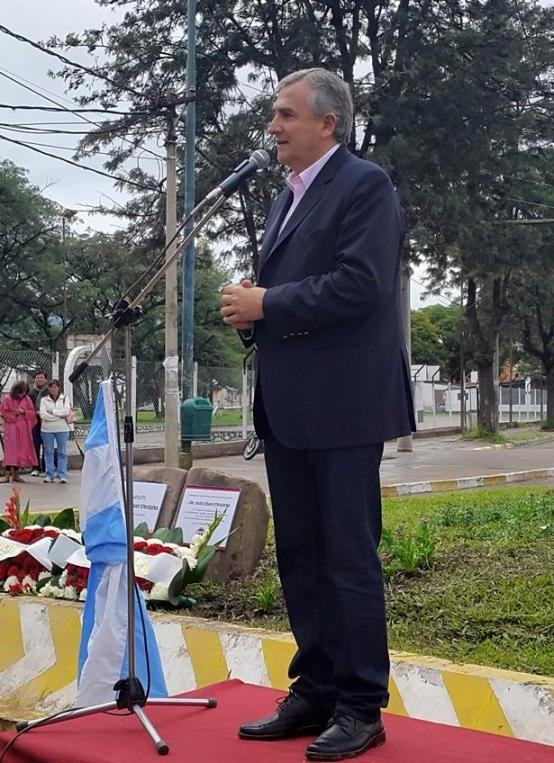 Gerardo Morales, durante el acto por el Día de la Memoria