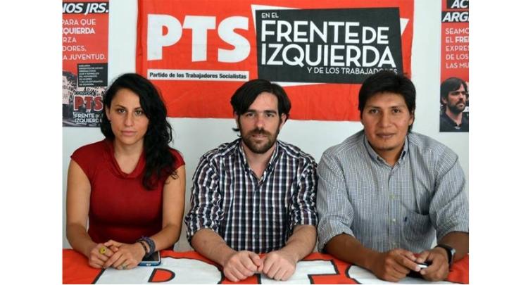 Natalia Morales y Alejandro Vilca con Nicolás del Caño, en una de sus visitas a Jujuy.
