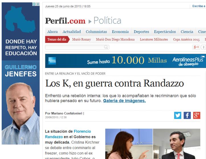 """Propaganda en el diario """"Perfil"""" de Buenos Aires."""