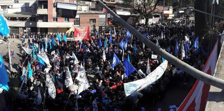 La marcha del Frente Estatal, este jueves. (Crédito foto: Prensa SEOM)