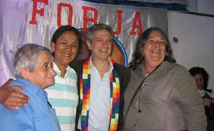 Miñán con Gustavo López, Milagro Sala y Mecha Castro. (Archivo)