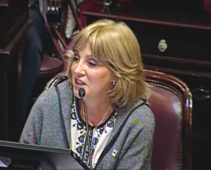 Fellner, en su banca del senado, defendiendo al kirchnerismo