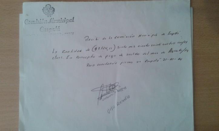 caspala recibo de sueldo manuscrito sin validez